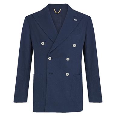 Navy Cotton Seersucker Double-Breasted Jacket