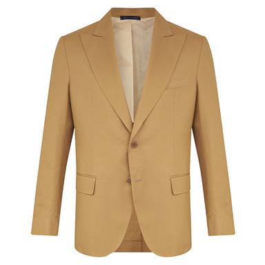 Camel Brown Cotton Single-Breasted Mergellina Suit