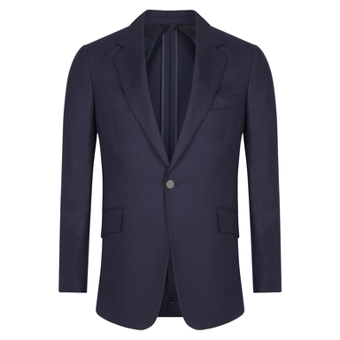 Navy Cashmere Single-Breasted Jacket