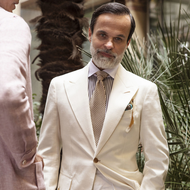 White Loro Piana Wool, Cotton And Silk Blend Sport Jacket