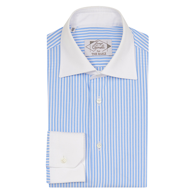 Light Blue Cotton Striped Contrast Collar Shirt