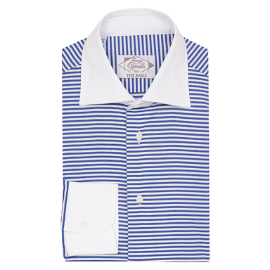 Navy Blue Cotton Horizontal Striped Contrast Collar Shirt