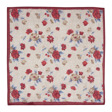 Beige and Pink Cotton Floral Pocket Square