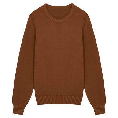 Tobacco Cotton Long-Sleeved Crewneck Sweater