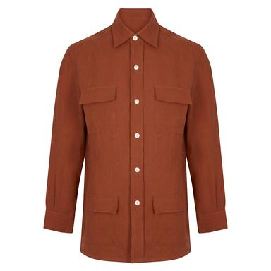 Brick Red Linen Safari Overshirt