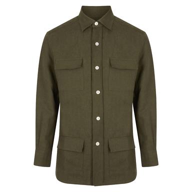 Khaki Linen Safari Overshirt