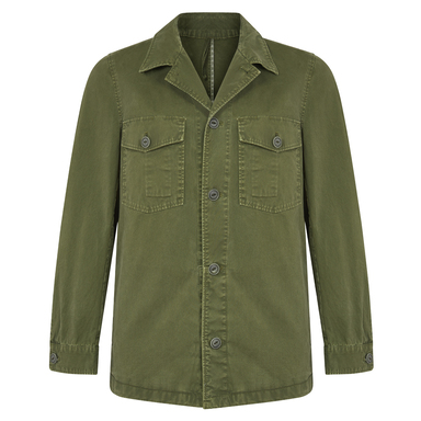 Military Green Cotton Two-Pocket Field Jacket