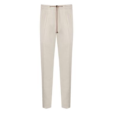 White Linen Jogging Trousers