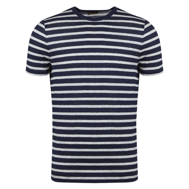 Navy and White Linen Striped T-shirt