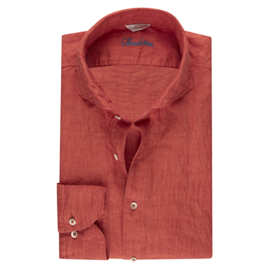 Dark Orange Linen Slimline Shirt
