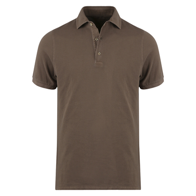 Brown Cotton Pigment Dyed Polo Shirt