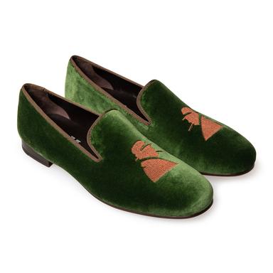 Green Velvet Churchill Mark Slippers