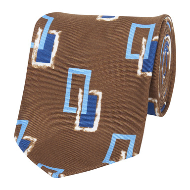 Brown Blue and White Silk Rectangle Silk Tie