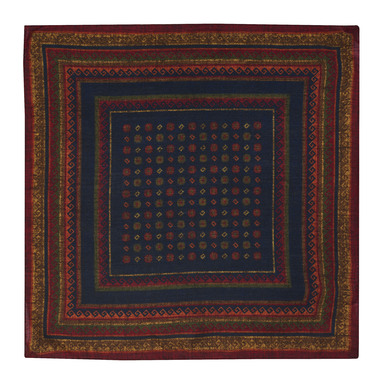 Dark Blue and Red Wool Floral Pattern Pocket Square