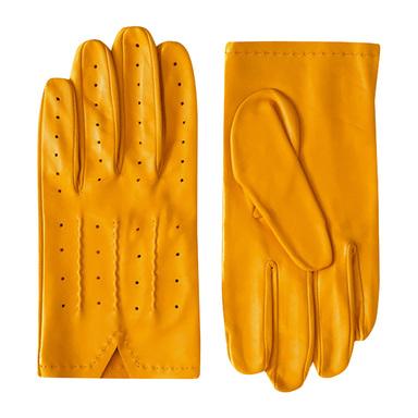 Yellow Tarim Full Grain Lambskin Driving Gloves