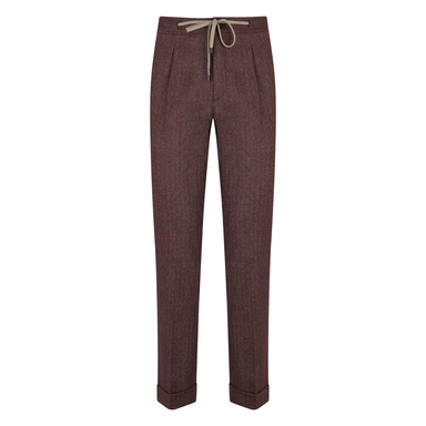 Burgundy Flannel Spina Drawstring Pleated Trousers