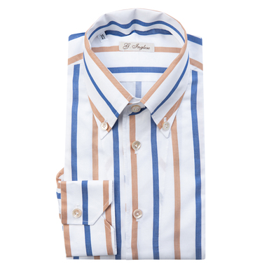 Blue, Camel and White Striped Shirt with Buttoned Collar