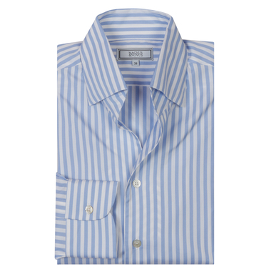 Blue Candy Stripe Cotton 'Business-Casual Leisure' Shirt