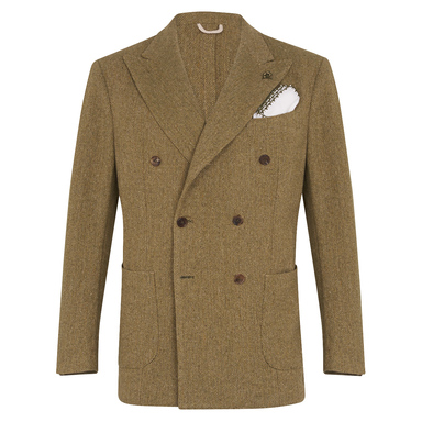 Green Wool Double-Breasted Herringbone Jacket