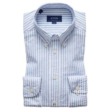 Blue Cotton Contemporary Oxford Single-Cuff Oxford Stripe Shirt