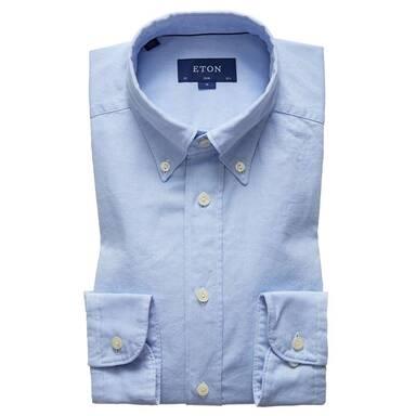 Blue Cotton Slim Oxford Single-Cuff Shirt