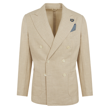Natural Cotton and Linen Hopsack Double-Breasted Jacket