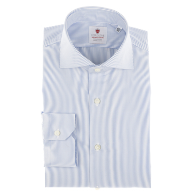 Azure and White Micro Stripe Cotton Shirt