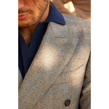 Alberto Vitale Barberis Canonico Grey Prince Of Wales Wool Double-Breasted Suit Jacket