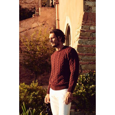 Alfredo Burgundy Merino Wool Cable-Knit Sweater