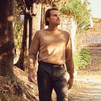 Dean Beige 100% Cashmere Turtleneck Sweater