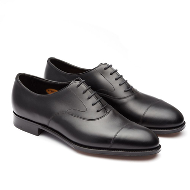 Black Chelsea Cap-Toed Leather Oxfords