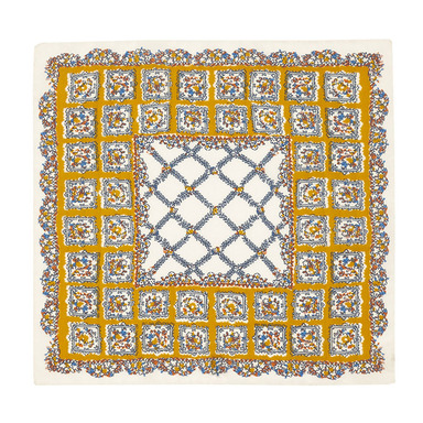 Yellow and White Valle Floral Square Pattern Silk and Cotton Pocket Square