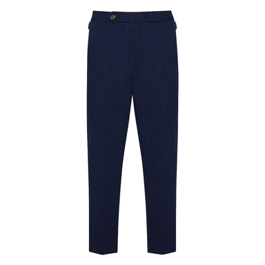 Indigo Dry Denim Pleated Trousers