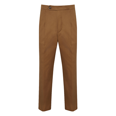 Nutmeg Brown Cotton Pleated Trousers