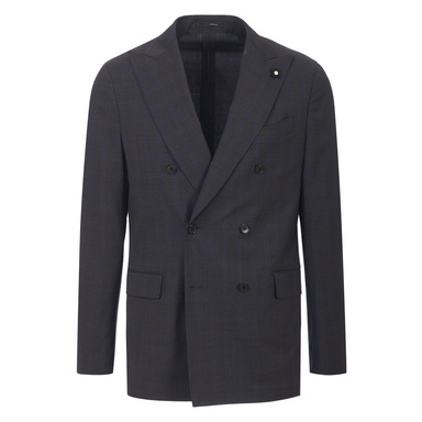 Charcoal and Navy Wool Check Double-Breasted Two-Piece Suit