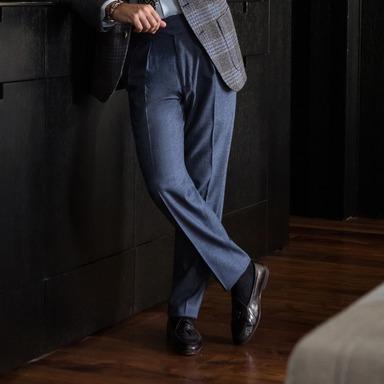 Carolina Blue Wool Manny Trouser