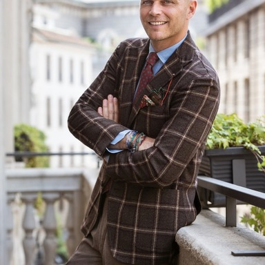 Brown and Bordeaux Wool Check Single-Breasted Jacket