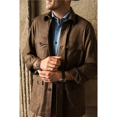 Brown Wool Herringbone Sahariana