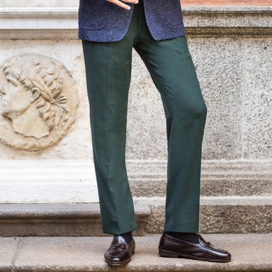 Green Wool Flat-Fronted Genny Trouser