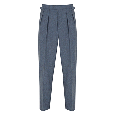 Blue Pleated Vitale Barberis Canonico Wool Flannel Aleksandar Trousers