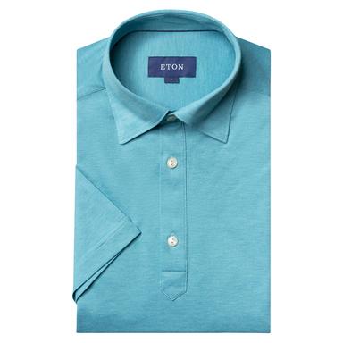 Turquoise Slim Fit Piqué Short Sleeve Cotton Polo Shirt