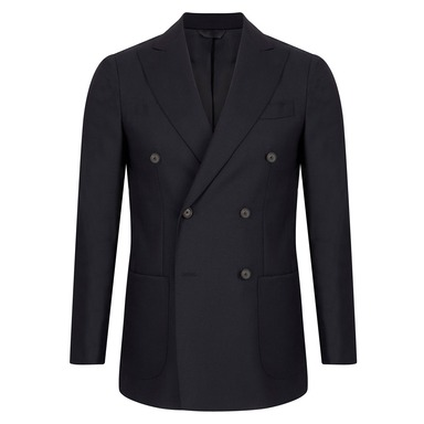 Navy Wool Double-Breasted Patch Pocket Blazer