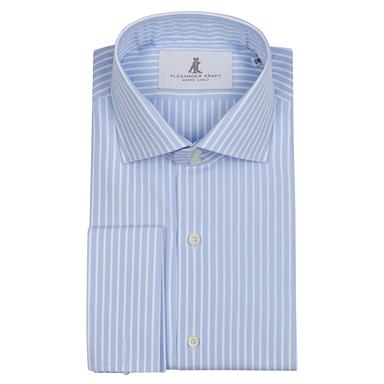Blue and White Stripe French Cuffs Signature Dress Shirt