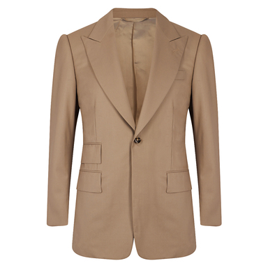 Stone VBC Gabardine Single-Breasted Cocktail Suit Jacket