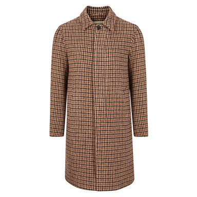 Light Brown and Green Alpaca Wool Houndstooth Raincoat