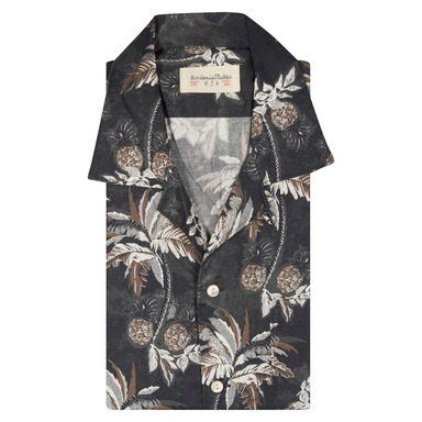 Cotton Pineapple and Leaves Print Cotton Shirt