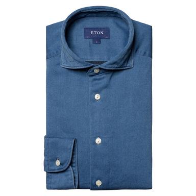 Light Blue Cotton Satin Indigo Slim Fit Shirt