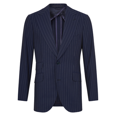 Blue Wool Pinstriped Three-Piece Single-Breasted Suit