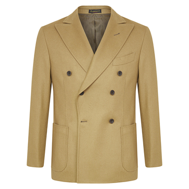 Camel Double-Breasted Patch Pocket Wool Jacket