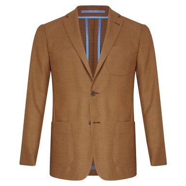 Light Brown Unlined Single-Breasted Patch Pocket Jacket